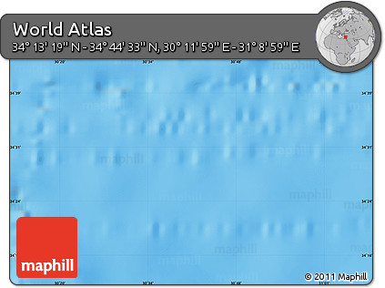 """Shaded Relief Map of the Area around 34°28'56""""N,30°40'29""""E"""