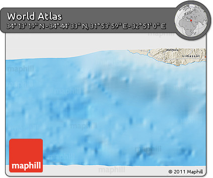 """Shaded Relief 3D Map of the Area around 34°28'56""""N,32°22'30""""E"""
