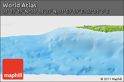 """Physical Panoramic Map of the Area around 34°28'56""""N,32°22'30""""E"""