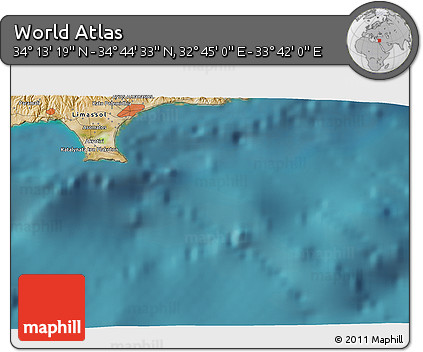 """Satellite 3D Map of the Area around 34°28'56""""N,33°13'30""""E"""