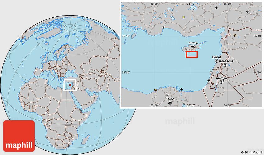 Gray Location Map of Akrotiri