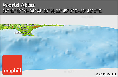 """Physical Panoramic Map of the Area around 34°28'56""""N,33°13'30""""E"""