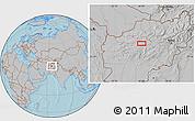 Gray Location Map of Chaghcharān, hill shading