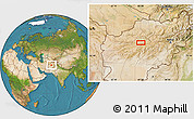 Satellite Location Map of Chaghcharān