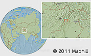 """Savanna Style Location Map of the area around 34°28'56""""N,70°37'30""""E, hill shading"""