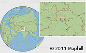 "Savanna Style Location Map of the area around 34°28'56""N,73°10'30""E"