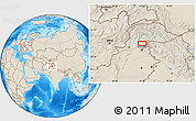 """Shaded Relief Location Map of the area around 34°28'56""""N,73°10'30""""E"""