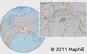 """Gray Location Map of the area around 34°28'56""""N,74°1'30""""E, hill shading"""