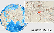 """Shaded Relief Location Map of the area around 34°28'56""""N,74°1'30""""E"""