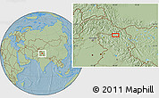 """Savanna Style Location Map of the area around 34°28'56""""N,76°34'29""""E, hill shading"""