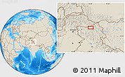 """Shaded Relief Location Map of the area around 34°28'56""""N,76°34'29""""E"""