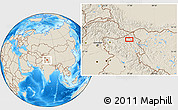 Shaded Relief Location Map of Satti