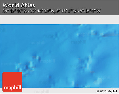 "Shaded Relief 3D Map of the Area around 34° 28' 56"" N, 9° 16' 30"" W"