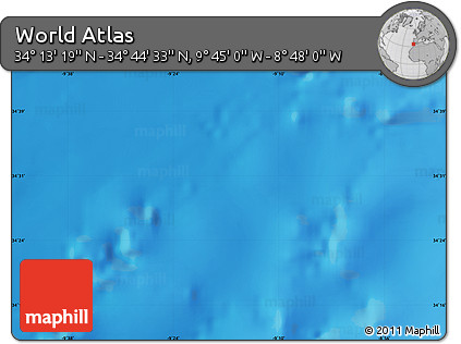 """Shaded Relief Map of the Area around 34°28'56""""N,9°16'30""""W"""