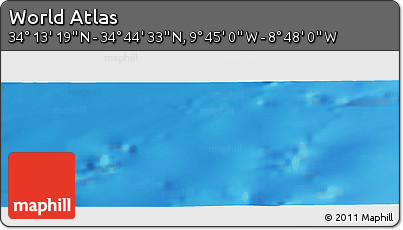 """Shaded Relief Panoramic Map of the Area around 34°28'56""""N,9°16'30""""W"""