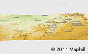"""Physical Panoramic Map of the area around 34°56'49""""N,0°4'30""""E"""