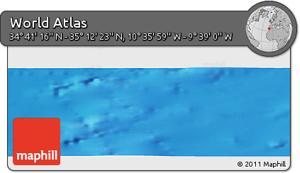 """Shaded Relief Panoramic Map of the Area around 34°56'49""""N,10°7'30""""W"""