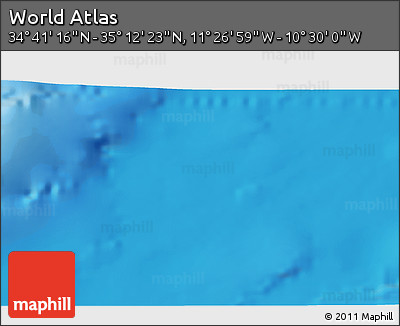 "Shaded Relief 3D Map of the Area around 34° 56' 49"" N, 10° 58' 29"" W"