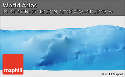 """Shaded Relief Panoramic Map of the Area around 34°56'49""""N,11°49'29""""W"""