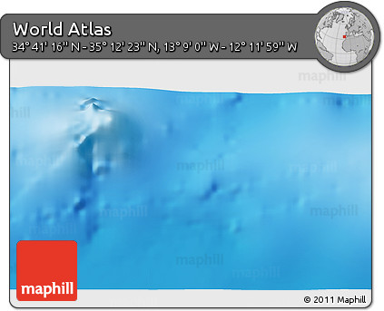 """Shaded Relief 3D Map of the Area around 34°56'49""""N,12°40'30""""W"""