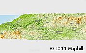 """Physical Panoramic Map of the area around 34°56'49""""N,132°40'30""""E"""