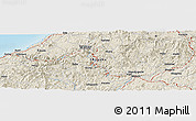 """Shaded Relief Panoramic Map of the area around 34°56'49""""N,132°40'30""""E"""