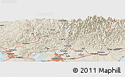 """Shaded Relief Panoramic Map of the area around 34°56'49""""N,137°46'30""""E"""