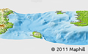 """Physical Panoramic Map of the area around 34°56'49""""N,139°28'29""""E"""
