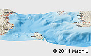 """Shaded Relief Panoramic Map of the area around 34°56'49""""N,139°28'29""""E"""