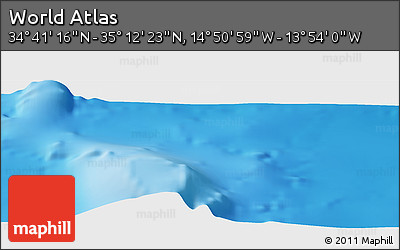"""Shaded Relief Panoramic Map of the Area around 34°56'49""""N,14°22'30""""W"""