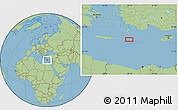 "Savanna Style Location Map of the area around 34°56'49""N,28°7'30""E"