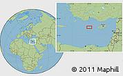 "Savanna Style Location Map of the area around 34°56'49""N,30°40'29""E"