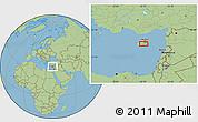 "Savanna Style Location Map of the area around 34°56'49""N,33°13'30""E"