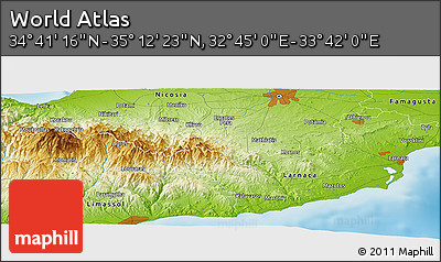 """Physical Panoramic Map of the Area around 34°56'49""""N,33°13'30""""E"""