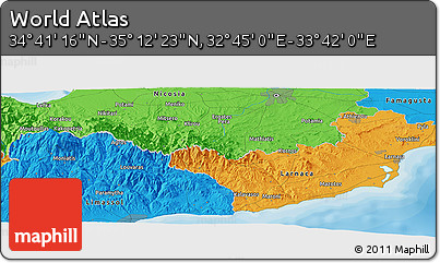 """Political Panoramic Map of the Area around 34°56'49""""N,33°13'30""""E"""