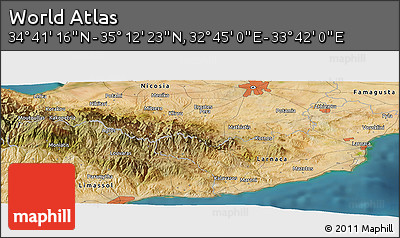 "Satellite Panoramic Map of the Area around 34° 56' 49"" N, 33° 13' 30"" E"