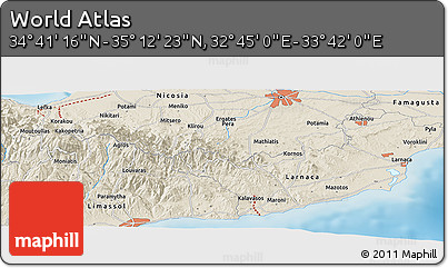 """Shaded Relief Panoramic Map of the Area around 34°56'49""""N,33°13'30""""E"""