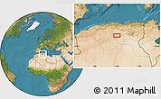 Satellite Location Map of 'Aïn Rhezal