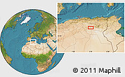 """Satellite Location Map of the area around 34°56'49""""N,5°10'30""""E"""