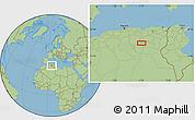 "Savanna Style Location Map of the area around 34°56'49""N,5°10'30""E"
