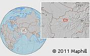 Gray Location Map of Bādgah, hill shading