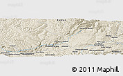 "Shaded Relief Panoramic Map of the area around 34° 56' 49"" N, 67° 13' 29"" E"