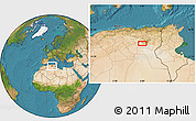 """Satellite Location Map of the area around 34°56'49""""N,6°1'30""""E"""