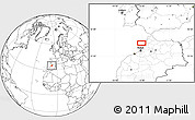 """Blank Location Map of the area around 34°56'49""""N,6°43'29""""W"""