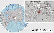 Gray Location Map of Asadābād, hill shading