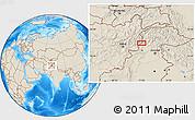 Shaded Relief Location Map of Asadābād