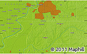 """Physical Map of the area around 34°56'49""""N,90°1'30""""W"""