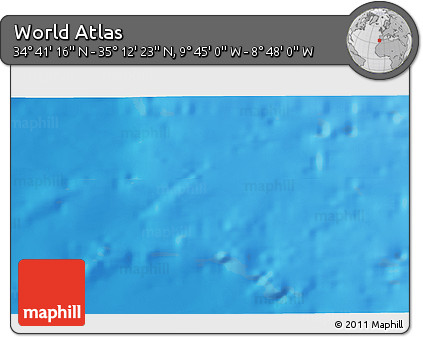 """Shaded Relief 3D Map of the Area around 34°56'49""""N,9°16'30""""W"""