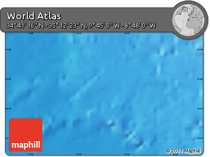 """Shaded Relief Map of the Area around 34°56'49""""N,9°16'30""""W"""