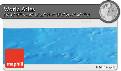 """Shaded Relief Panoramic Map of the Area around 34°56'49""""N,9°16'30""""W"""